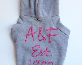 Grey A&F Upcycled Dog Hoodie (S/M)