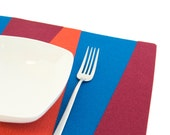 Blue, orange and burgundy felt placemats, geometric, stylish placemats, wool felt, handmade, made in Italy