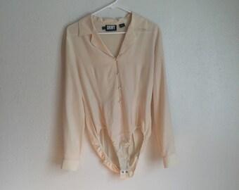 Vintage 90s Silk Leotard Shirt Button Down Blouse Cream White DKNY Donna Karan Leotard Classic Chic Avant Garde Opening Ceremony