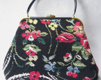 Tapestry Needlepoint Purse Handbag Carpet Bag Style Large Size Vintage Black Floral JR 1960s Boho Traditional Beautiful Condition