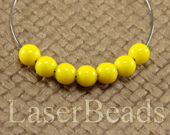 50pc Yellow glass beads 5mm Bright lemone yellow druk beads Czech glass beads Opaque