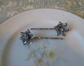 Blue Sky: Vintage Glam Inspired Light blue Stained Glass Flowers w/ Rhinestone Center on Silver Hair Pins Bobby Pins Set