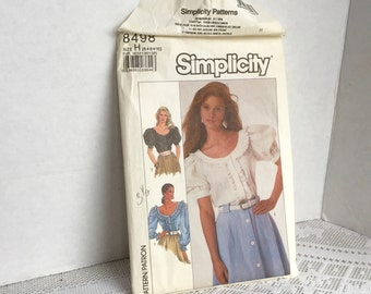 Vintage Sewing Pattern Simplicity Puffed Sleeves Blouse  Size L Uncut 1988