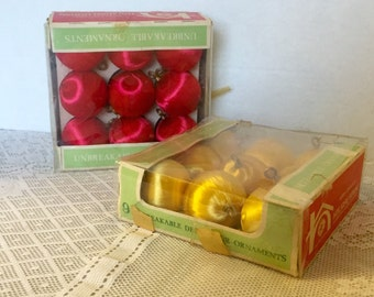 Vintage Christmas Tree Ornaments Satin Sheen Boxed Sets Ball Ornaments in Yellow and Red