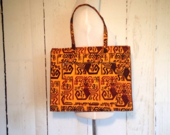 Vintage 60s Silvania Prints tote bag - tribal print - Made in Peru - Rare - laptop case