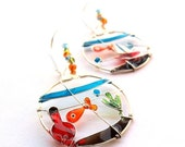 AUGUST SALE 20% Pet goldfish earrings, glass fish bowl earrings, colorful dangle earrings, wearable art jewelry