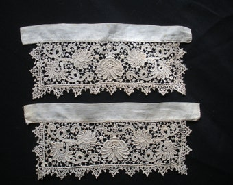 Pair Antique Chemical Lace Cuffs Beautiful
