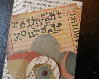 "SALE ACEO ATC one-of-a-kind ""Reinvent Yourself"" Artist Trading Card Collage and Ink"