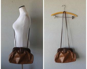 brown leather crossbody purse l vintage 80s liz claiborne medium size shoulder bag hipster preppy handbag 1980s minimal tote hippie boho