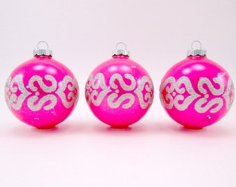 Hot Pink Shiny Brite Christmas Ornaments 1970s Vintage Glass Mid-Century Christmas Decorations