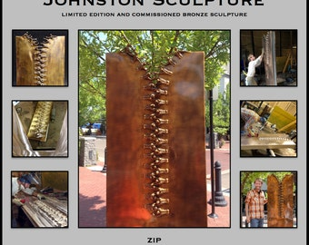 Zip.  Enlarged, extended, two sided, free standing public bronze sculpture.