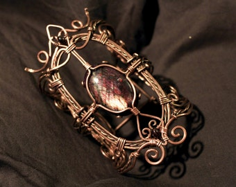 Wire Wrapped Copper Bracelet with Red Labradorite and Garnet Gemstone