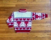 4T Valentines Teddy Bear Vintage Sweater Red White Green