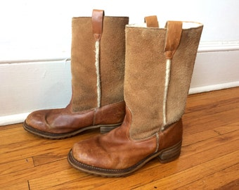 Suede and Leather Calf High Shearling lined Cowboy Boots Mens Work Boots Size 12
