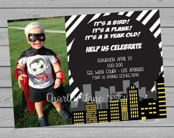 Super Hero Birthday Invitation with Photo