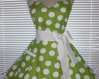 Fifties Style Retro Apron Lime Green with White Jumbo Dots Circular Flirty Skirt Satin Edge Organza Trimming