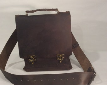 Crossover Leather Bag For Men/Top Handle CrossBody Handbag /Mens Leather Messenger Bag,Leather Satchel Bag Gifts for Men