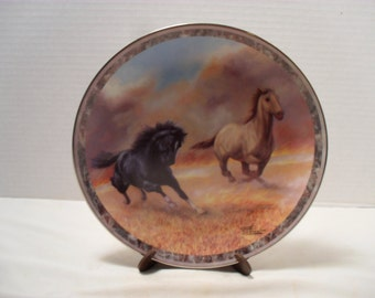 """Chuck DeHaan """"Outracing the Fire"""" Horse Plate Galloping Glory Bradford Collector"""