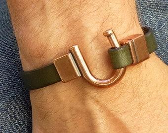 Copper Hook Bracelet, Dark Green Leather Bracelet Cuff, Mens Copper Bracelet, U Hook Bracelet, Copper Bracelet for Men, Copper and Leather