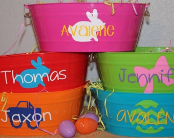 Personalized Easter Basket - You Fill  - Oval Bucket - Multi-purpose - Pink - Orange - Green - Red - Blue - Font and Color options