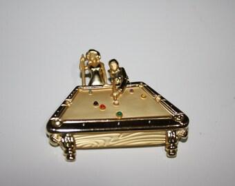 AJC Gold Tone Dimensional Pool Table Pin, Vintage