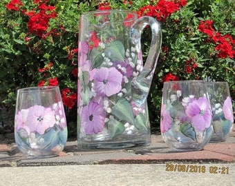 Pitcher set with four matching Glasses hand painted with magenta /white Pansies green leaves and some baby breath