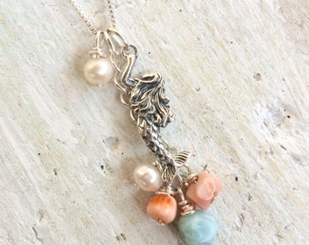 Mermaids Treasure Charm Necklace - Conch Shell, Larimar, Pearls, Spiny Oyster Shell - Sterling Silver by ZEN by Karen Moore Jewelry