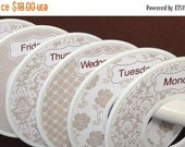 6 Custom Closet Dividers Organizers Shabby Elegance in Tan White Days of Week Labels CD426 Baby Girl Shower Nursery Gift Clothes Organizers