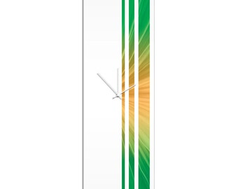 Large Modern Clock 'Sprout Triple Stripe Clock' by Adam Schwoeppe - Wall Decor Minimalist Accent Piece on Acrylic