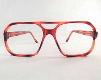 Red Tortoise Shell Eyeglasses, Mens Retro Frames, Square Aviator Glasses, NOS Glasses