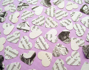 Alice In Wonderland Heart Novel Book Confetti - Choose from 250, 500, 750, 1000, 1250 - Wedding Vintage Table Decor Hearts