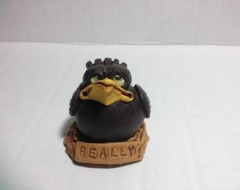 Handmade Little Clay Blackbird