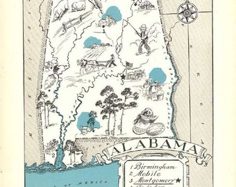 Alabama Map Print / 1930s Vintage Map Art / Map of Alabama Decor / Travel Wall Decor / Quinn State Map Wall Art Print / Montgomery Alabama