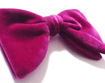 Vintage Bow Tie Pink Cerise Velvet Ausitco Retro Formal Wear