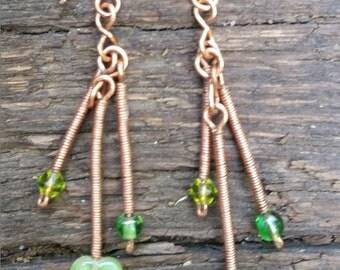 Copper Twist Vine Earrings