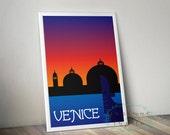 Venice, Italy - Art Deco Travel Poster