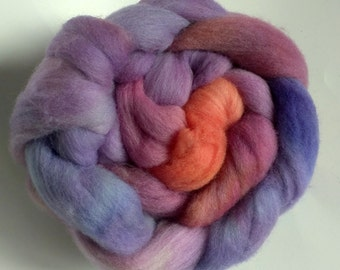 Sunset B 3.8oz Handpainted Polwarth Spinning Fiber