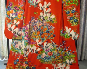 SALE !! ** Vintage Silk Printed Kimono Uchikake with Four Seasons of Blossoms with Cranes in Flight  - in Antique Red (Non-Embroidered)