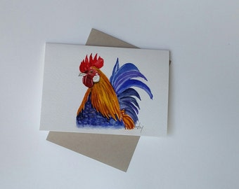 Rooster Watercolor/ Rooster Painting card/ Rooster /  Farm Animal Painting