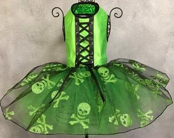 HALLOWEEN:  Lime Green Skull Dog Party Dress