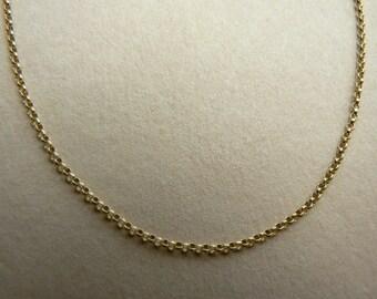 "9ct gold 1.15mm mini belcher rolo chain 16"", 17"", 18"", 19"", 20"" suitable for pendant"