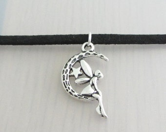 Silver Fairy On The Moon Black Faux Suede Choker Necklace, 3mm Width Black Faux Suede Choker Necklace, Crescent Moon Fairy Charm Necklace