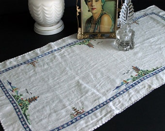 Vintage Dresser Scarf Asian Oriental Inspired Pagoda Tiny Cross Stitch Table Runner