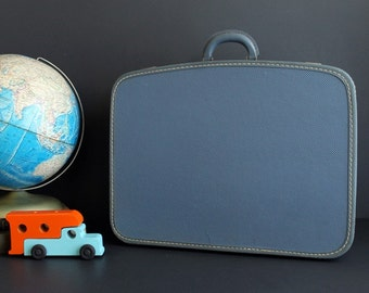 Vintage Suitcase Blue Medium Sized Luggage Carolina UCLA Blue