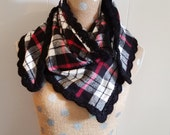 Plaid Triangle Blanket Scarf/Shawl with Hand Crocheted Edge - Black White and Red Flannel - Fall/winter Accessories - Gift idea- Women's