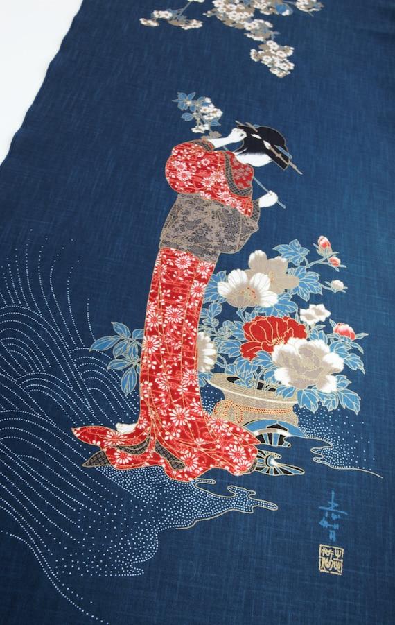 Japanese Indigo Blue Noren Panel Geisha Noren Fabric Curtain