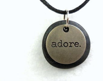 Adore Necklace, Word Pendant, Polymer Clay Inspirational Jewelry