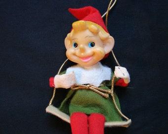 Vintage 1950s Japan Christmas Elf Ornament, Elf Felt Christmas Ornament 1950s Christmas Decoration
