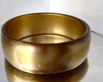 Vintage Lucite Golden Bronze Metallic Wide Bracelet 1960's Lucite Bronze Gold Moonglow Brass Bangle