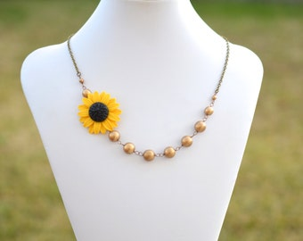 Golden Yellow Sunflower and Antique Gold Beads Asymmetrical Necklace. FREE EARRINGS